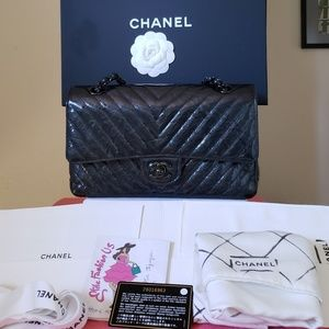 Chanel Chevron classic so black medium bag